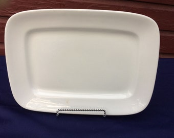 "Rectangular Antique English White Ironstone Tray Platter Classic Large 17"" Meakin 1890s"
