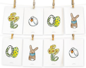 Postcards 4 hand set Easter aquarellierte Easter motifs in a set of 8 cards
