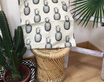 Pineapple, pilow, tropical, black and white pillow cover