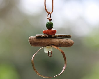 Layered Pendant with copper  gemstones and driftwood.