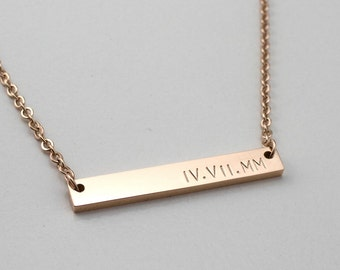 Roman Numeral Necklace - Personalized Bar Necklace - Bridesmaid Gift - Date Necklace - Gift For Her - Bible Verse - Scripture Necklace