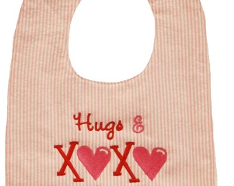 Preppy Valentines Day Bib Hugs and Kisses