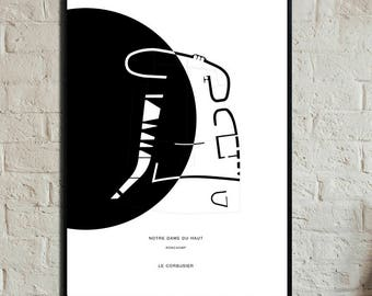 Notre Dame du Haut Poster. Instant Download. Ronchamp poster. Le Corbusier poster. Poster of architecture. Nordic-style prints.