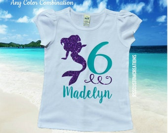 Mermaid Birthday Shirt, Girls Mermaid Birthday, Choose Your Colors, Sixth Birthday Mermaid Shirt, Up to Child XL, Under the Sea Party Shirt