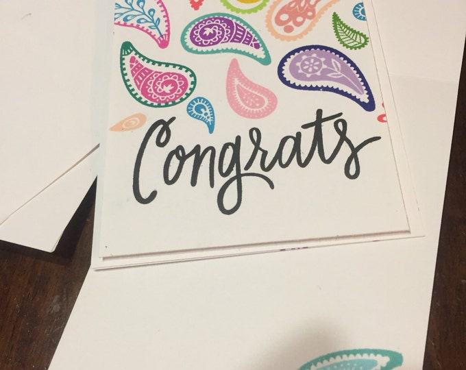 Handmade Card, Stamped Card, Congrats Card, Handmade Congratulations Card, Stamp of Approval Card, Custom Card, Notecard