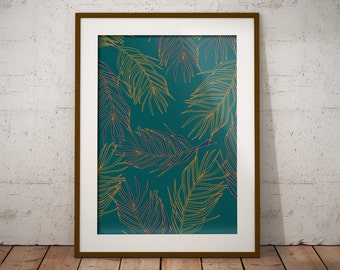 Print Palm fronds Wall Art Poster Tropical