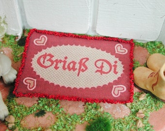 Dollhouse miniatures, miniature doormat doormat Griaß Di, in 1:12 for the Doll House, Doll House, collector