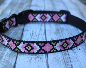 Tribal Dog Collar - Personalized Dog Collar - Pink and Gold Dog Collar - Aztec Dog Collar - Trendy Dog Collar - Tribal Dog Harness