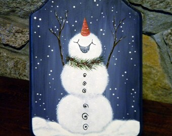Snowman Plaque, Snowman On A Snowy Night, Let It Snow, Christmas Decor, Holiday Decor, Wall Hanging, Hand Painted, Wooden Plaque