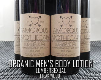 Organic Men's Body Lotion | Pure Vegan 5 oz. Lumbersexual Teak Wood-Scented Luxury Masculine Moisturizing Body Cream w/ Shea & Cocoa Butters