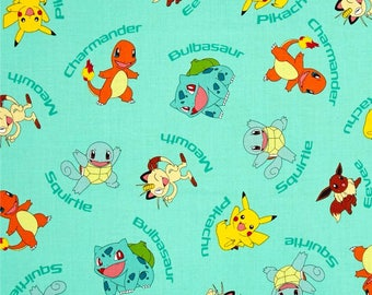 "Pokemon on Aqua by Robert Kaufman, By the Half Yard, 44"" wide, 100% cotton, pokemon fabric, pikachu fabric, licensed fabric, cartoon fabric"