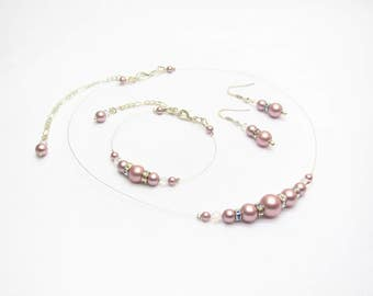 Adornment marriage pink swarovski Pearly pearls and Rhinestones, necklace bracelet and earrings, wedding dress