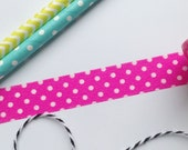 Fuschsia Pink and White Spot Washi Tape 15mm x 5m Bright, polka dots for crafts