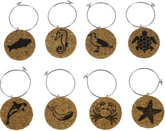 Nautical Animal Cork Wine Glass Charms- Set of 8 - Designs Including Dolphin, Star Fish, Sea Horse, Crab, etc -Cork Tags to Mark Your Drinks