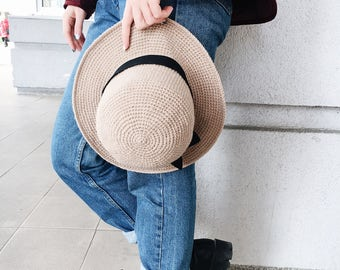 Beige Hat with Brim, Floppy Hat, for Women, Crochet, Cloche Hat, Wide Brim Hat, Womens Hat, Spring Hat Crochet, Gift for Her, Fedora