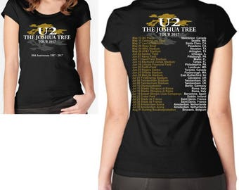 U2 The Joshua Tree 30th Anniversary 2017 World Tour T Shirt Top Ladies