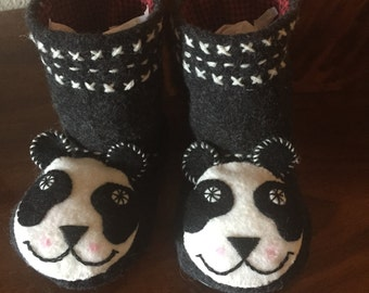 Child's Panda Slippers/House Shoes/ Hand Embroidered/Reclaimed/Recycled/Up Cycled Wool
