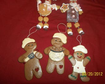 gingerbread boy christmas ornaments lot of 5