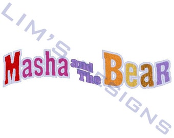 "Masha and The Bear logo - fully embroidered machine embroidery design- 3 sizes 4x4"", 5x7"", 6x10"" ( not applique )"
