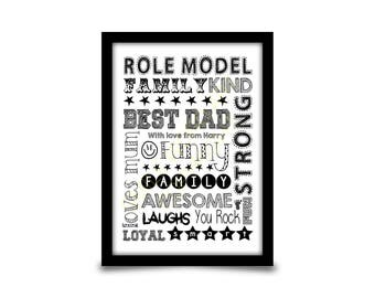 Personalised birthday gift for Dad, Daddy or Father. Retro word art style typography design. Fathers day gift idea. A4 digital print.