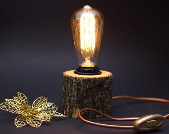 Wood lamp - Rustic lamp - Edison lamp - Ash lamp
