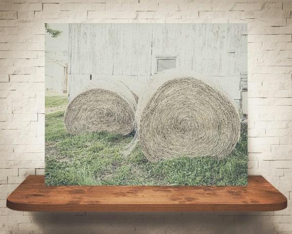 Hay Bales Photograph - Fine Art Print - Color Photography - Wall Art - Wall Decor -  Farm Pictures - Farm House Decor - Country Decor
