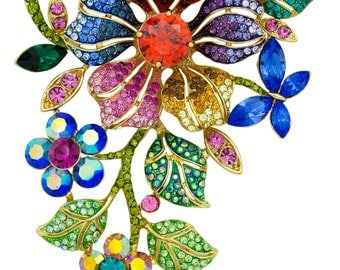 Gold Tone Swarovski Element 4-Inch Flowers Brooch Pin Pendant