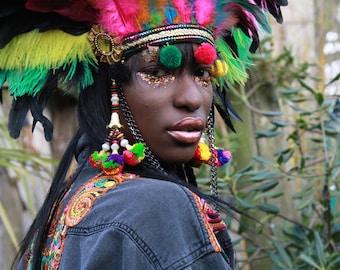 Multicoloured ostrich feather festival headdress, burning man feather headdress, festival headgear, feather festival crown, feather headgear