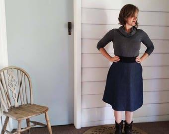 Women's  Denim Skirt Australian Made Plus Size Available Made to Order Denim Aline Skirt Stretch Band Below the Knee Denim Pockets Skirt