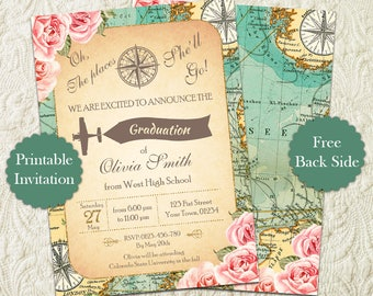 Oh The Places You'll Go Girl Graduation Party Invitation, Map Travel Girl Graduation Announcement Invite, Around The World Graduation Invite