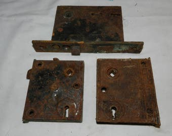 3 Door Locks - Vintage Mortise style Distressed / Rusty Door locking mechanisms - Corbin and others - Antique Salvaged Hardware        46-29