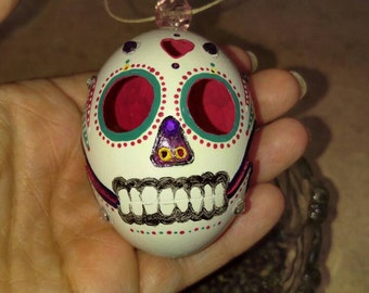 Blown Egg Sugar Skull, Carved