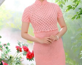 Charming dress crochet in  Japanese style . Simple and elegant...knit to order
