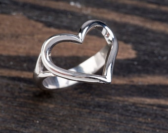 Open Heart Ring , Love Ring , 925 Sterling Silver