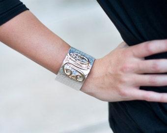 Vine Monogram Cuff Bracelet