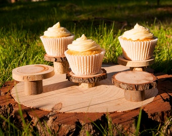 10 Mini Cupcake Stands, Tree Slice Cupcake Holders, Rustic Cupcake Stands, Wedding Cupcake Stands, Tree Stump Cupcake Holders, Mini Pedestal