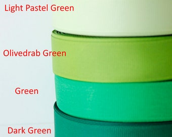 3/4 inch Ribbon by the yard, Grosgrain ribbon, Green colour palette, Scrapbooking supplies, Sewing, Hairbow Supplies, Craft