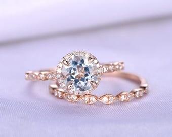 Aquamarine Engagement Ring 7mm Round Cut Aquamarine Ring Blue Gem Stone Art Deco Diamond Wedding Band Wedding Ring Set 14K Rose Gold