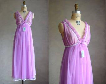 vintage lilac purple 1960s nightgown | NOS 60s DuPont nylon maxi nightgown | vintage NWT long purple nightie | 1960s ruffle pajamas