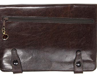 SALE - Vintage Gagiano Men's Brown Leather Calfskin Multi Pocket Organizer Wristlet Bifold Agenda Carryon Handheld Multifuncional