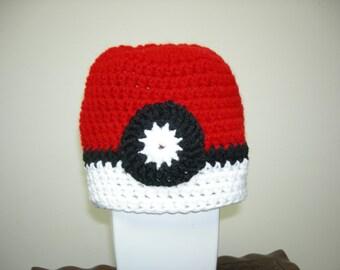 Child's Warm Pokeman Ball Hat Cap Beanie, Red, White, Black