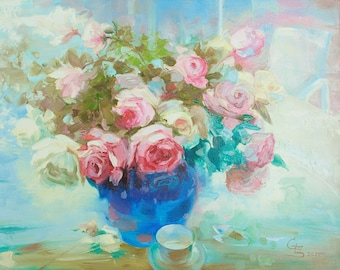 Abstract Roses Pink Flower Romantic gifts Wedding Oil on Canvas Impasto Rose Peony Modern Art Gifts for Women For Her Textured Painting