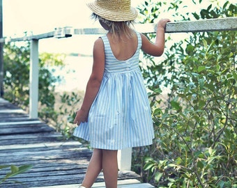 Girls Scoop Back dress blue stripe