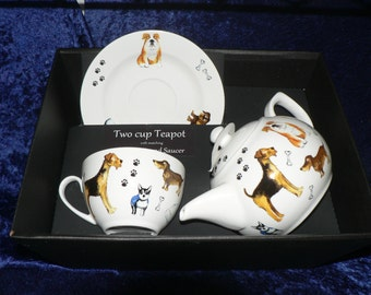 Dogs Teapot cup and saucer gift boxed