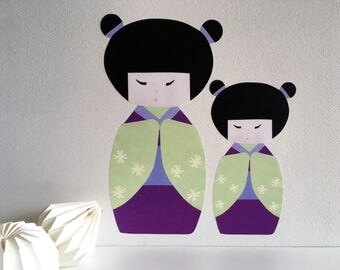 Kokeshi Doll Wall Decal, Kokeshi Doll, Japanese Doll Wall Art, nursery wall stickers, girls wall stickers, geisha, matryoshka, kokeshi art