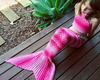 Halter bikini top - mermaid costume, baby, toddler, child's mermaid crop top, matching top for crochet mermaid tail costume, rainbow yarn