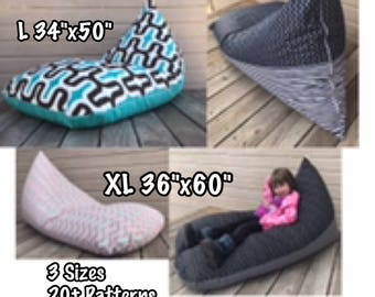 Outdoor Bean Bag Chair or Lounger - Choose Your Size and Pattern - Lining Included