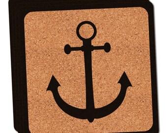 Anchor Thin Cork Coaster Set Of 4