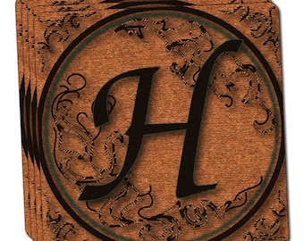 Vintage Letter H Initial Black Tan Thin Cork Coaster Set Of 4