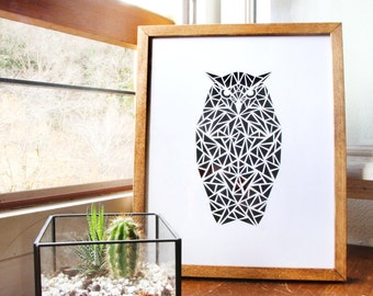 Table OWL geometric paper cut white on hand made blue, frame 24x30cm